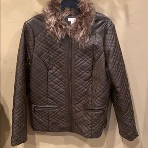 Chico's brown jacket with detachable fur collar